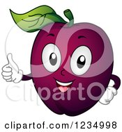 Clipart Of A Happy Plum Mascot Holding A Thumb Up Royalty Free Vector Illustration