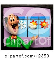 Clay Sculpture Clipart Meteorologist Weather Man Discussing The Forecast Royalty Free 3d Illustration by Amy Vangsgard