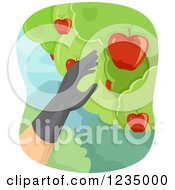 Clipart Of A Gloved Hand Picking Apples From A Tree Royalty Free Vector Illustration