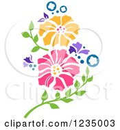 Clipart Of Stenciled Pansy Flowers Royalty Free Vector Illustration