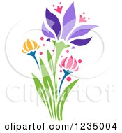 Clipart Of Stenciled Tulip Flowers Royalty Free Vector Illustration