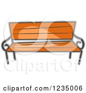 Clipart Of A Wood Park Bench Royalty Free Vector Illustration