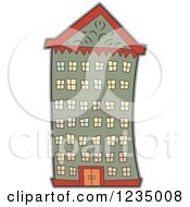 Clipart Of An Urban Apartment Building Royalty Free Vector Illustration