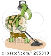 Clipart Of A Turtle Tortoise Using A Metal Detector Royalty Free Vector Illustration