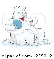 Clipart Of A Hot Polar Bear Holding A Fan Royalty Free Vector Illustration