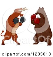Clipart Of A Stock Market Bear And Bull Boxing Royalty Free Vector Illustration by BNP Design Studio