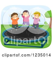 Clipart Of Happy Children Jumping On A Trampoline Royalty Free Vector Illustration