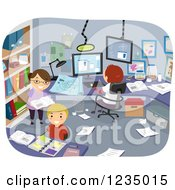 Clipart O Children Researching And Conducting An Experiment In A Room Royalty Free Vector Illustration
