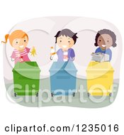 Clipart Of Diverse Children Dividing Up Recycle Items Into Bins Royalty Free Vector Illustration
