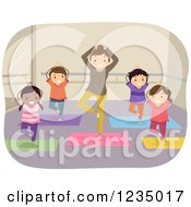 Clipart Of A Woman Instructing A Childrens Yoga Class Royalty Free Vector Illustration