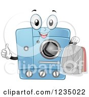 Clipart Of A Happy Dry Clean Machine Holding A Thumb Up Royalty Free Vector Illustration