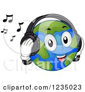 Clipart Of A Happy Earth Mascot Listening To Music With Headphones Royalty Free Vector Illustration