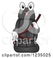 Clipart Of A Car Seat Mascot Buckling Up Royalty Free Vector Illustration