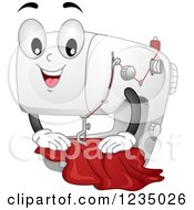 Happy Sewing Machine Mascot With Cloth