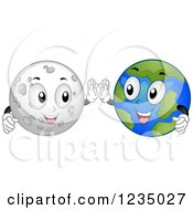 Clipart Of Moon And Earth Characters Doing A High Five Royalty Free Vector Illustration