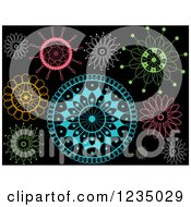 Clipart Of Colorful Doilies On Black Royalty Free Vector Illustration