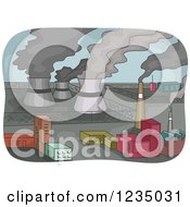 Clipart Of Smoke Rising From Power Plants Royalty Free Vector Illustration