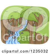 Clipart Of A Stream Running Through A Forest Royalty Free Vector Illustration