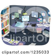 Clipart Of Notes Scattered In An Experimental Room Royalty Free Vector Illustration