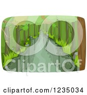 Clipart Of A River Flowing Through A Forest Royalty Free Vector Illustration