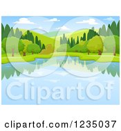 Clipart Of A Lake And Lush Landscape Royalty Free Vector Illustration