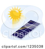 Clipart Of A Hot Sun Shining Down On A Solar Panel Royalty Free Vector Illustration by BNP Design Studio