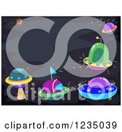 Clipart Of A Border Of Colorful Ufos In Outer Space Royalty Free Vector Illustration