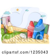 Clipart Of A Sketched Playground Of School Supplies Royalty Free Vector Illustration
