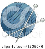 Clipart Of A Blue Knitting Yarn Ball Royalty Free Vector Illustration