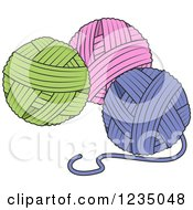 Clipart Of Green Pink And Purple Knitting Yarn Balls Royalty Free Vector Illustration