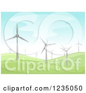 Clipart Of A Hilly Landscape With Windmills Royalty Free Vector Illustration