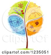 Clipart Of A Tree Divided Into Four Seasons Royalty Free Vector Illustration