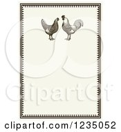 Vintage Invitation With A Rooster Pair On Beige