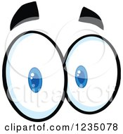 Clipart Of A Pair Of Surprised Blue Eyes Royalty Free Vector Illustration