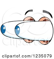 Clipart Of A Pair Of Surprised Blue Eyes Popping Out Royalty Free Vector Illustration