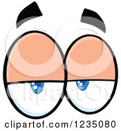 Clipart Of A Pair Of Lazy Blue Eyes Royalty Free Vector Illustration