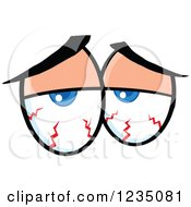 Clipart Of A Pair Of Blood Shot Blue Eyes Royalty Free Vector Illustration