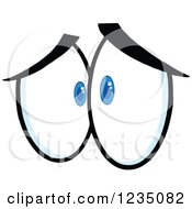 Clipart Of A Pair Of Sad Blue Eyes Royalty Free Vector Illustration