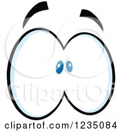 Clipart Of A Pair Of Scared Blue Eyes Royalty Free Vector Illustration