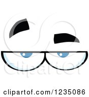 Clipart Of A Pair Of Bored Blue Eyes Royalty Free Vector Illustration