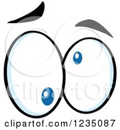 Clipart Of A Pair Of Crazy Blue Eyes Royalty Free Vector Illustration