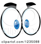 Clipart Of A Pair Of Mad Blue Eyes Royalty Free Vector Illustration