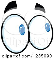 Clipart Of A Pair Of Looking Blue Eyes Royalty Free Vector Illustration