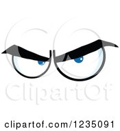 Clipart Of A Pair Of Angry Blue Eyes Royalty Free Vector Illustration