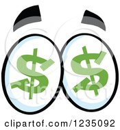 Clipart Of A Pair Of Greedy Dollar Eyes Royalty Free Vector Illustration