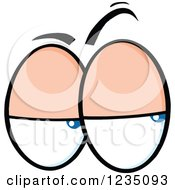 Clipart Of A Pair Of Suspicious Blue Eyes Royalty Free Vector Illustration