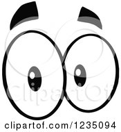 Clipart Of A Pair Of Surprised Black And White Eyes Royalty Free Vector Illustration