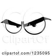 Clipart Of A Pair Of Angry Black And White Eyes Royalty Free Vector Illustration