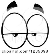 Clipart Of A Pair Of Lazy Black And White Eyes Royalty Free Vector Illustration