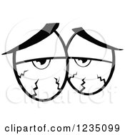 Clipart Of A Pair Of Blood Shot Black And White Eyes Royalty Free Vector Illustration